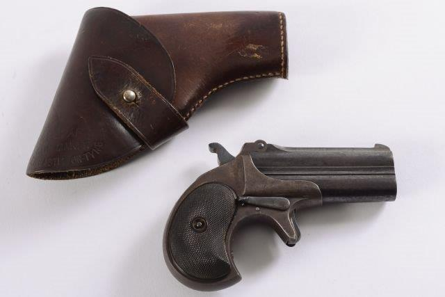 a remington double barrel over and under derringer.